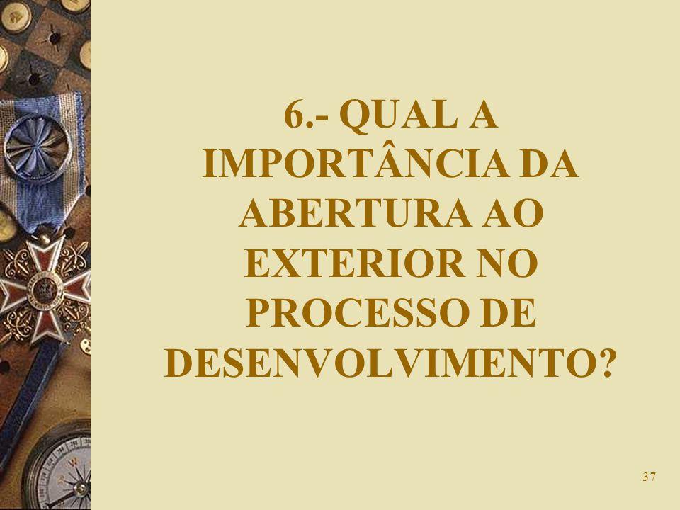 6.- QUAL A IMPORTÂNCIA DA ABERTURA AO EXTERIOR NO PROCESSO DE DESENVOLVIMENTO