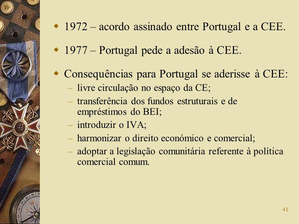 1972 – acordo assinado entre Portugal e a CEE.