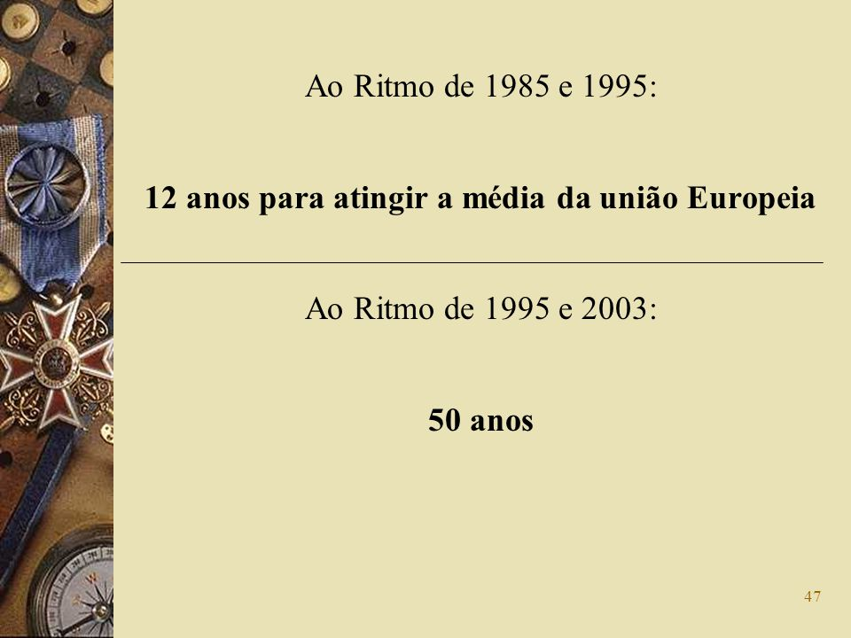 12 anos para atingir a média da união Europeia