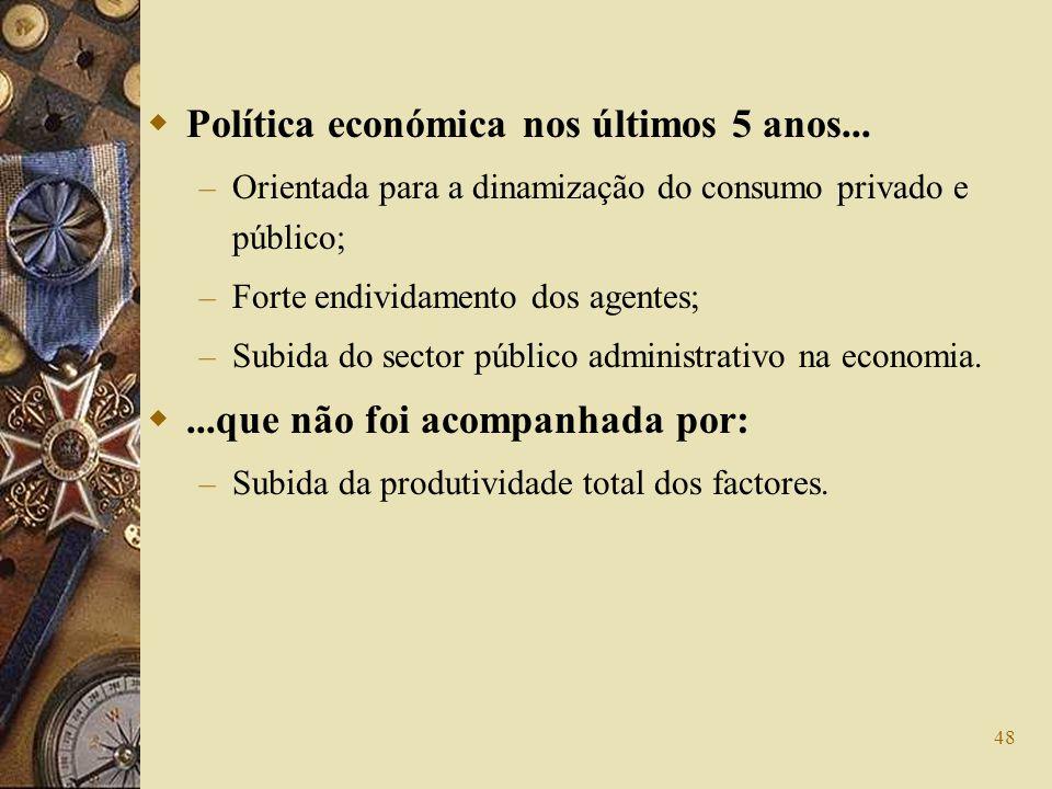 Política económica nos últimos 5 anos...