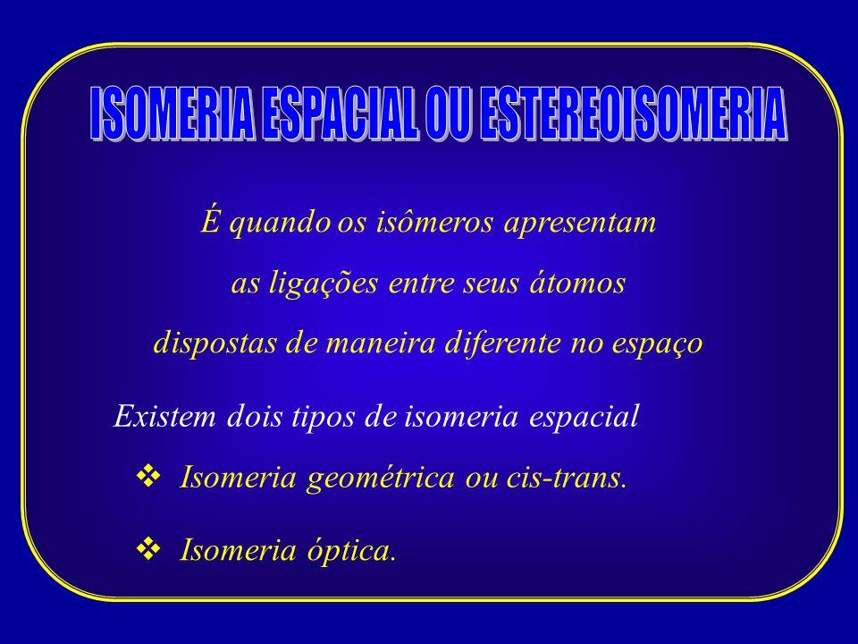 ISOMERIA ESPACIAL OU ESTEREOISOMERIA