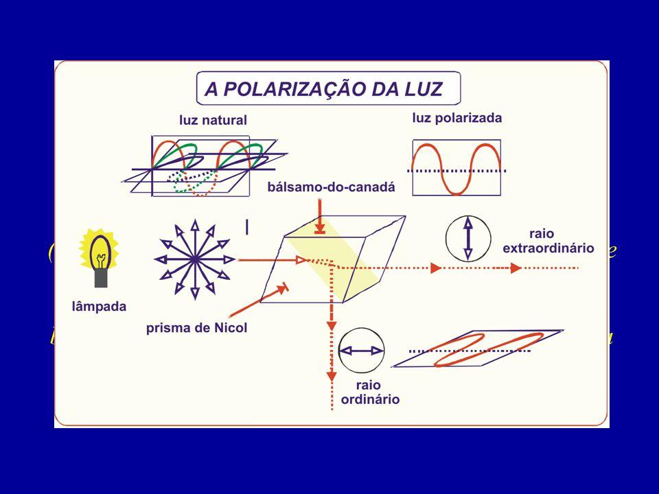 (dois cristais de CaCO3 cortados em forma de prisma e colados com