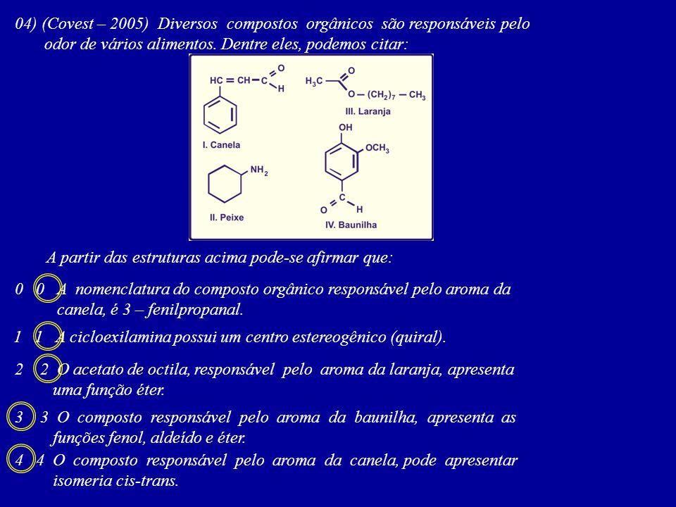 04) (Covest – 2005) Diversos compostos orgânicos são responsáveis pelo