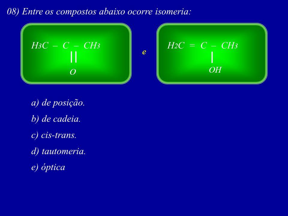 08) Entre os compostos abaixo ocorre isomeria: