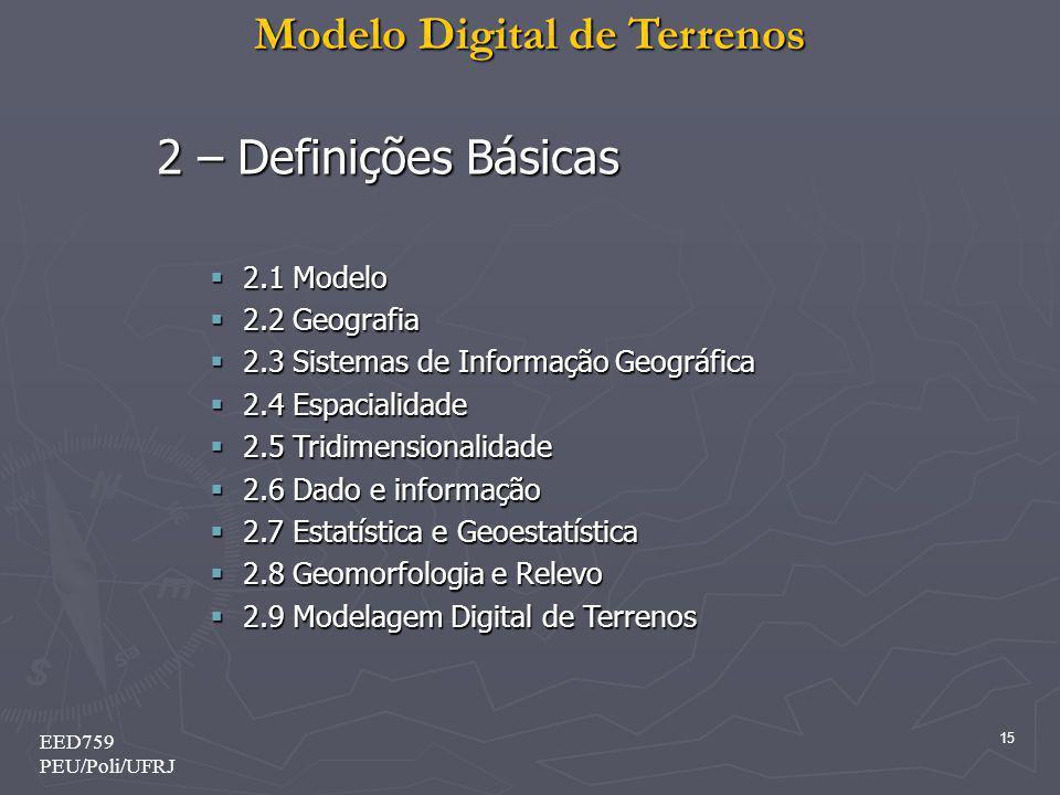 2 – Definições Básicas 2.1 Modelo 2.2 Geografia