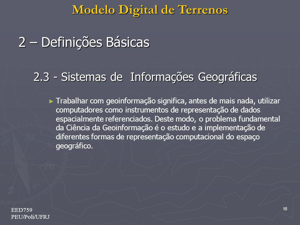 2 – Definições Básicas 2.3 - Sistemas de Informações Geográficas
