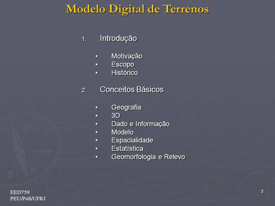 Introdução Conceitos Básicos Motivação Escopo Histórico Geografia 3D