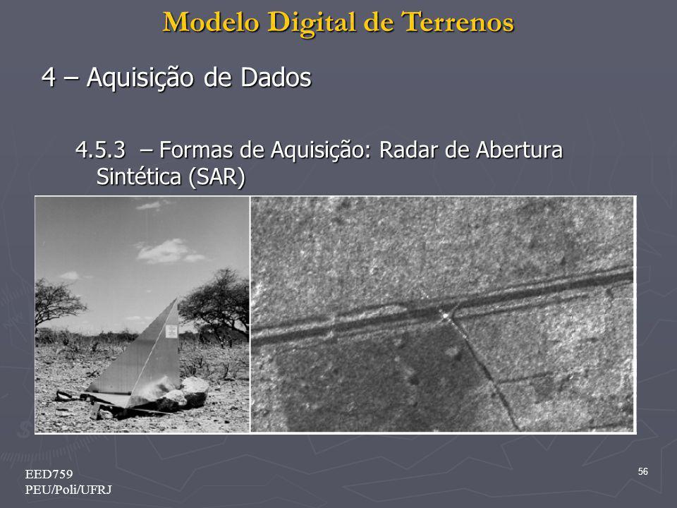 4 – Aquisição de Dados 4.5.3 – Formas de Aquisição: Radar de Abertura Sintética (SAR) EED759.