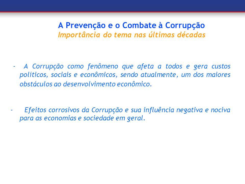 A Prevenção e o Combate à Corrupção Importância do tema nas últimas décadas