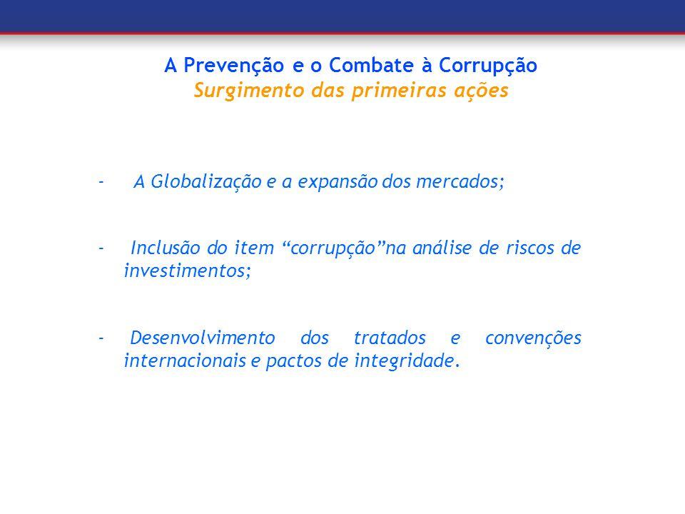 A Prevenção e o Combate à Corrupção Surgimento das primeiras ações
