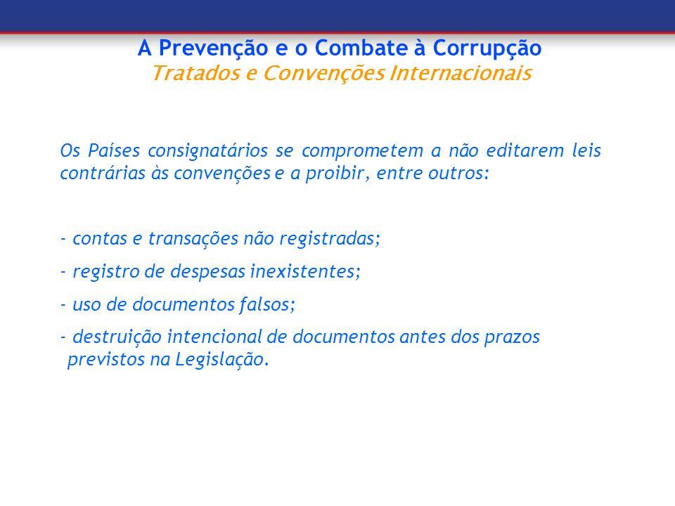 A Prevenção e o Combate à Corrupção Tratados e Convenções Internacionais