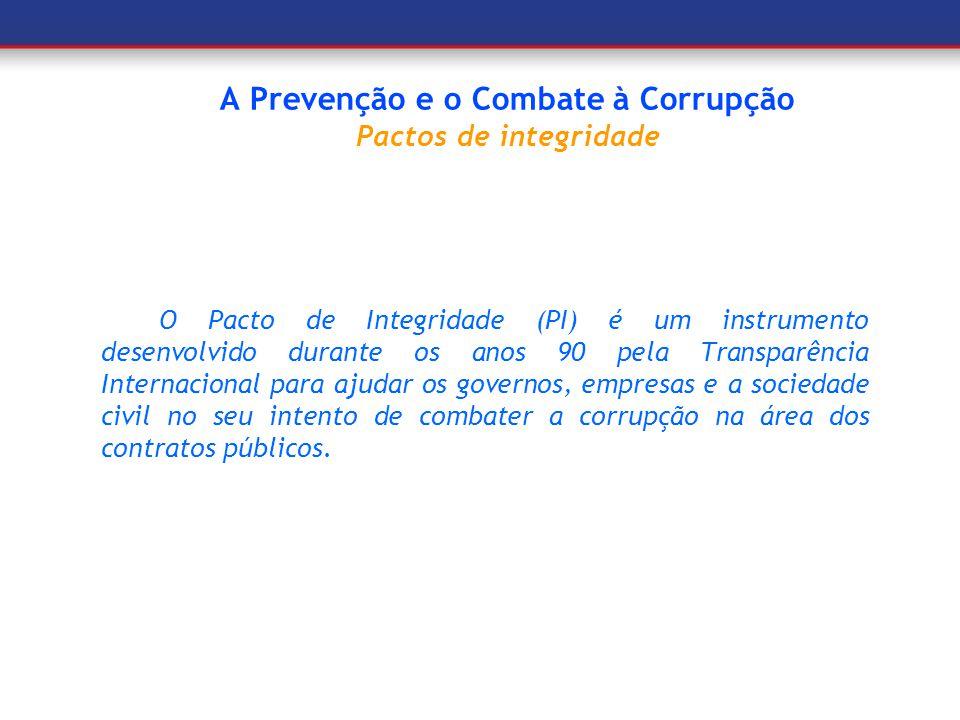 A Prevenção e o Combate à Corrupção Pactos de integridade
