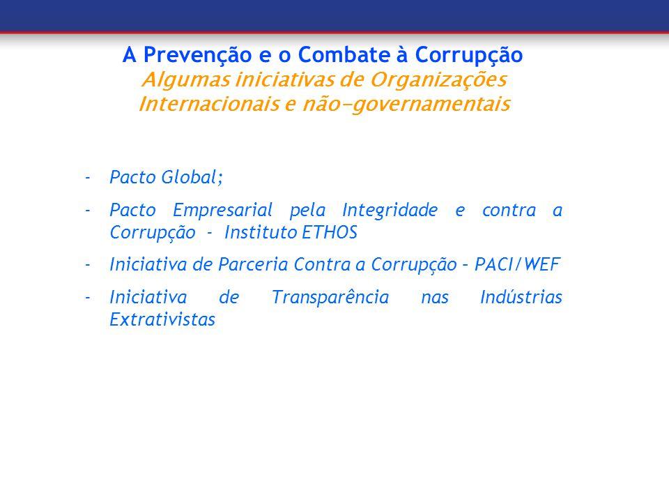 A Prevenção e o Combate à Corrupção Algumas iniciativas de Organizações Internacionais e não-governamentais