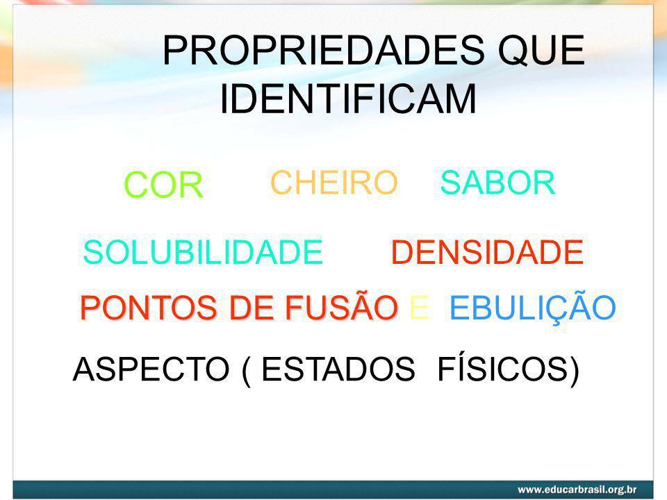 PROPRIEDADES QUE IDENTIFICAM COR CHEIRO SABOR SOLUBILIDADE DENSIDADE
