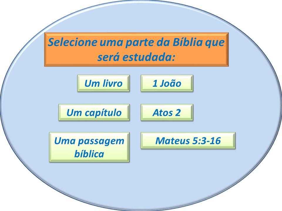 Selecione uma parte da Bíblia que será estudada: