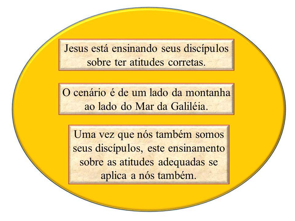 Jesus está ensinando seus discípulos sobre ter atitudes corretas.
