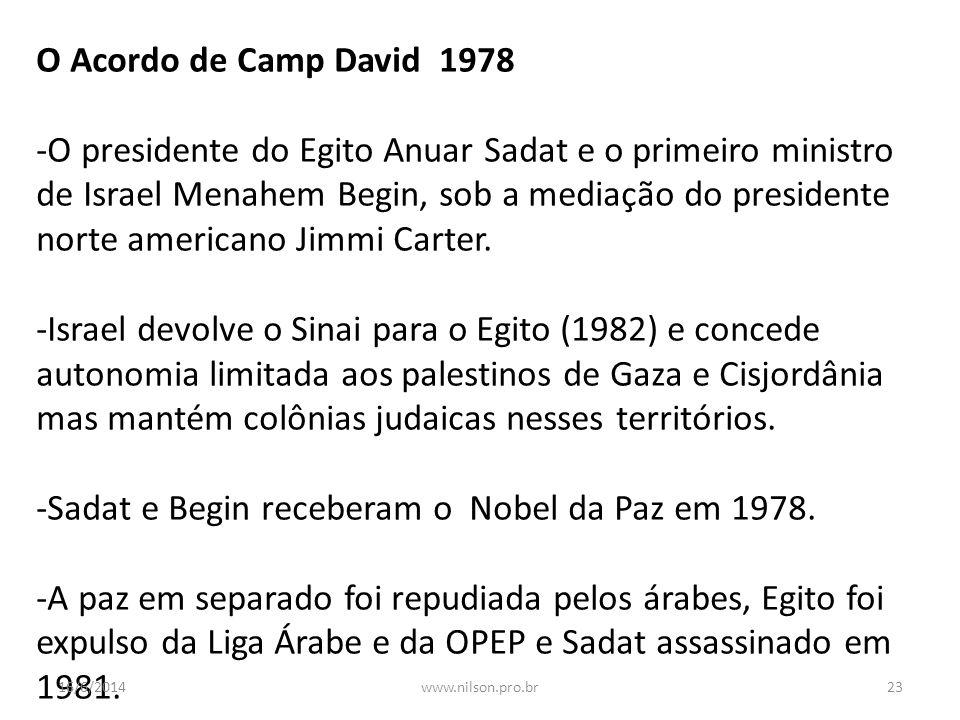 -Sadat e Begin receberam o Nobel da Paz em 1978.