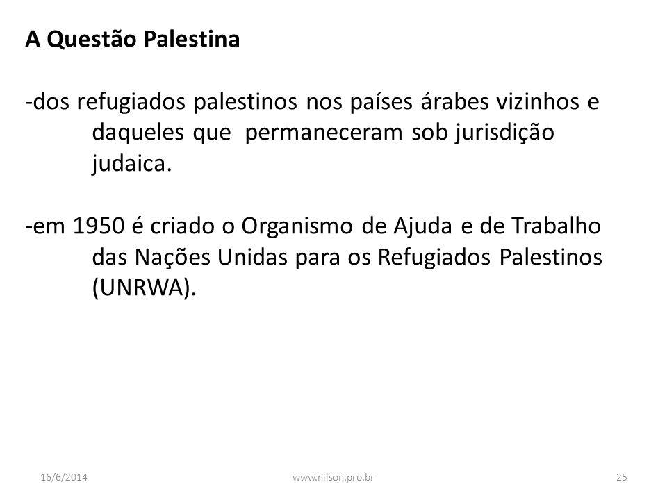 A Questão Palestina -dos refugiados palestinos nos países árabes vizinhos e daqueles que permaneceram sob jurisdição judaica.