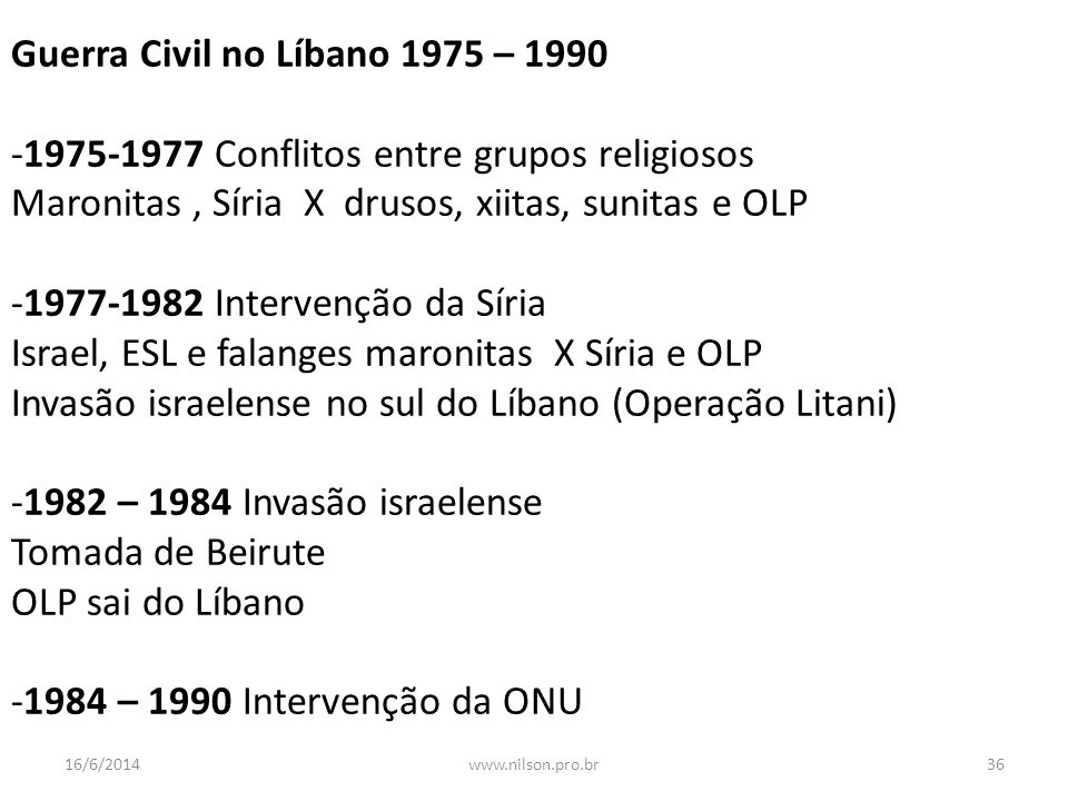 Guerra Civil no Líbano 1975 – 1990