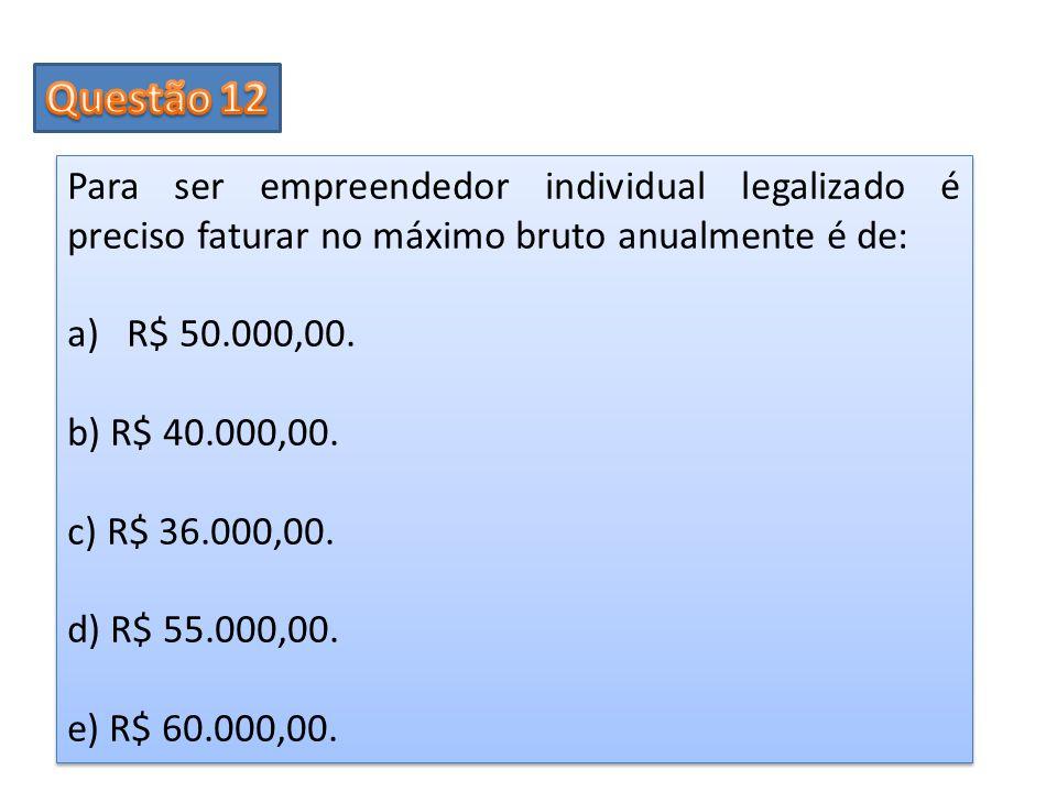 Questão 12 Para ser empreendedor individual legalizado é preciso faturar no máximo bruto anualmente é de: