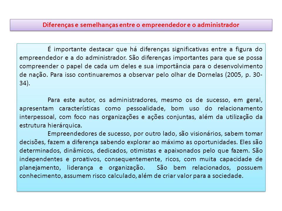 Diferenças e semelhanças entre o empreendedor e o administrador