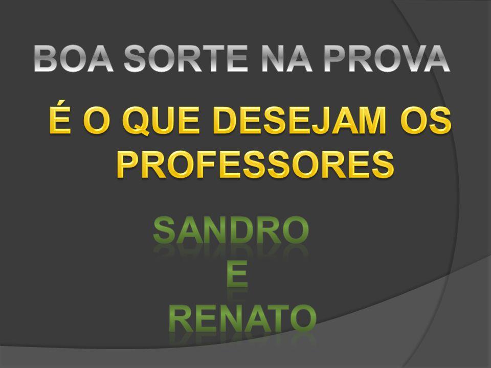 BOA SORTE NA PROVA É O QUE DESEJAM OS PROFESSORES SANDRO E RENATO