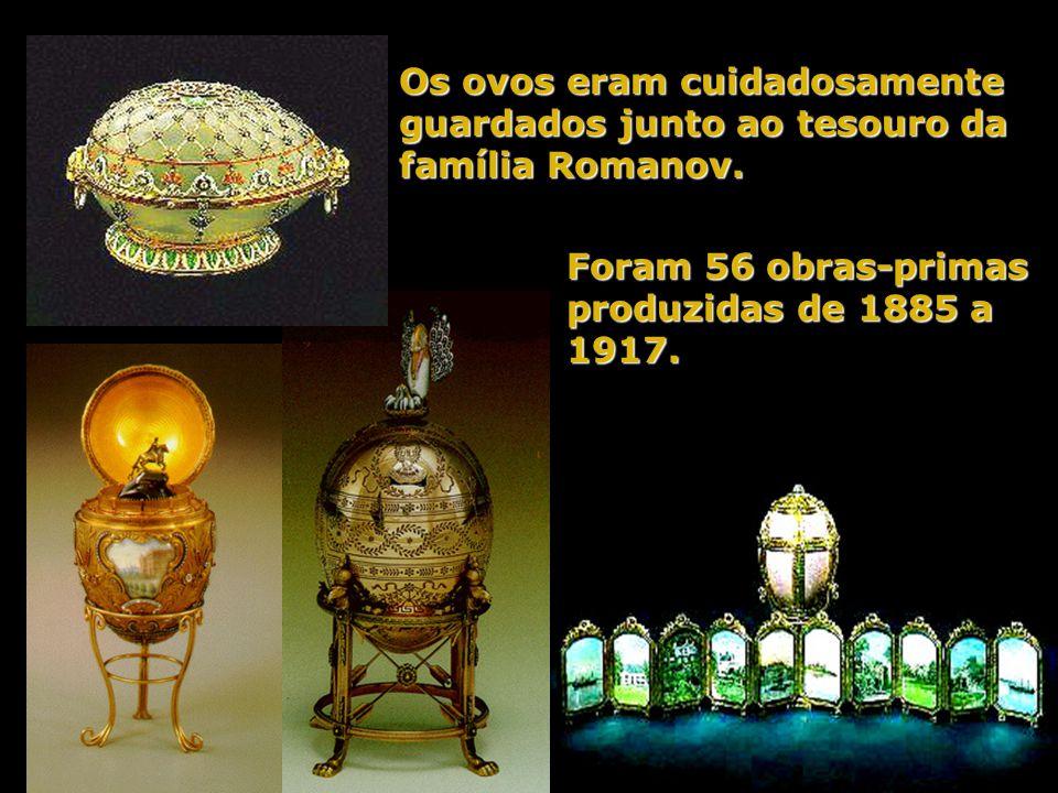 Os ovos eram cuidadosamente guardados junto ao tesouro da família Romanov.