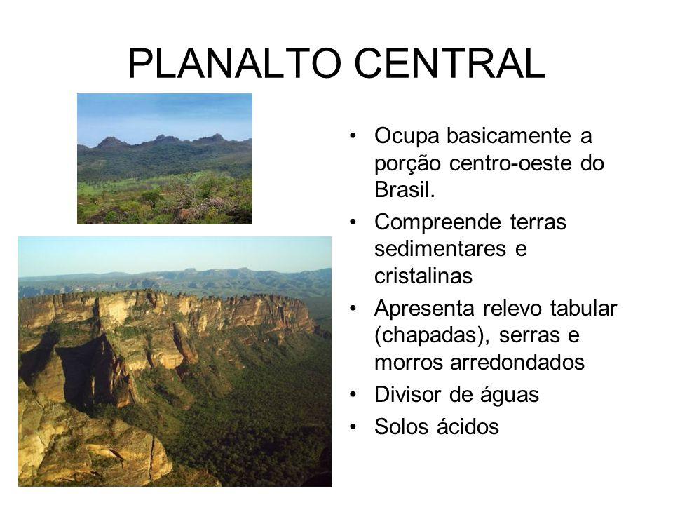 PLANALTO CENTRAL Ocupa basicamente a porção centro-oeste do Brasil.