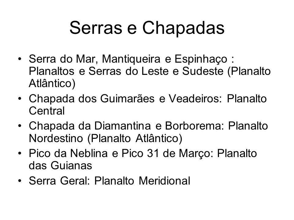 Serras e Chapadas Serra do Mar, Mantiqueira e Espinhaço : Planaltos e Serras do Leste e Sudeste (Planalto Atlântico)