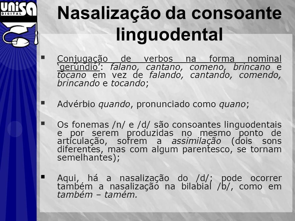 Nasalização da consoante linguodental