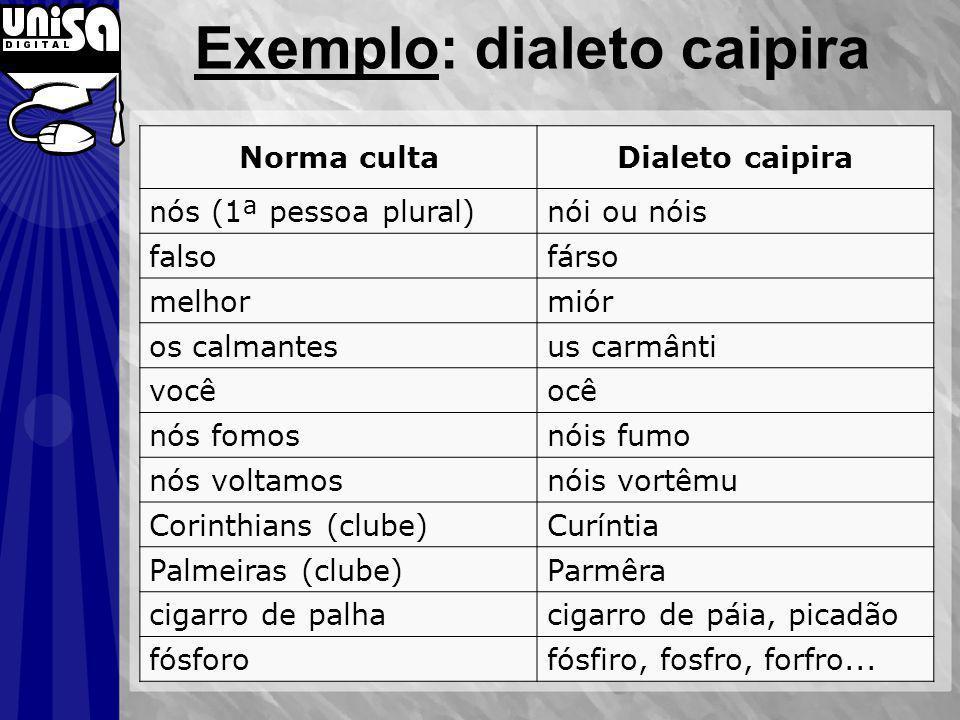 Exemplo: dialeto caipira