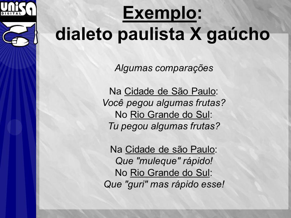 Exemplo: dialeto paulista X gaúcho