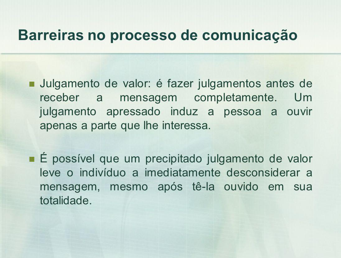 Barreiras no processo de comunicação