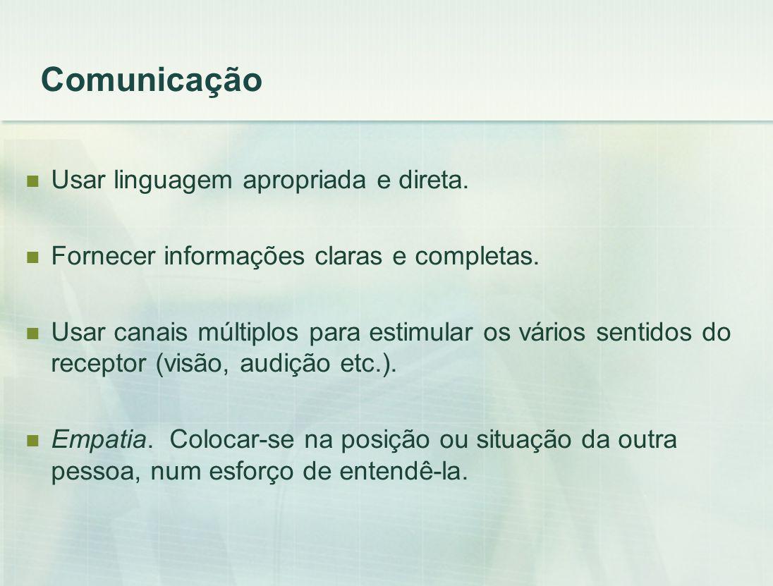 Comunicação Usar linguagem apropriada e direta.