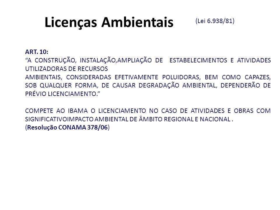 Licenças Ambientais (Lei 6.938/81) ART. 10: