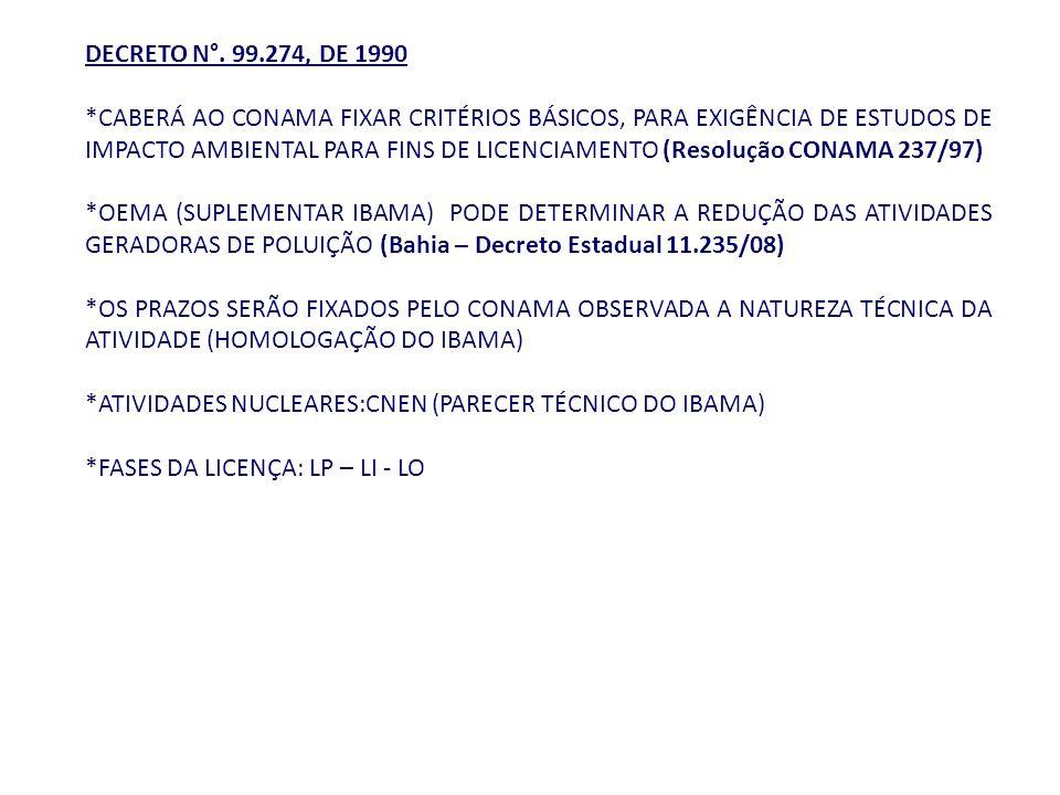 DECRETO N°. 99.274, DE 1990