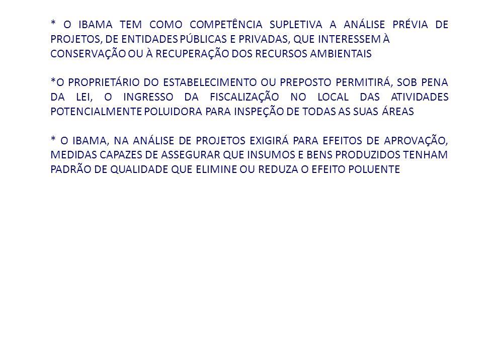 * O IBAMA TEM COMO COMPETÊNCIA SUPLETIVA A ANÁLISE PRÉVIA DE PROJETOS, DE ENTIDADES PÚBLICAS E PRIVADAS, QUE INTERESSEM À