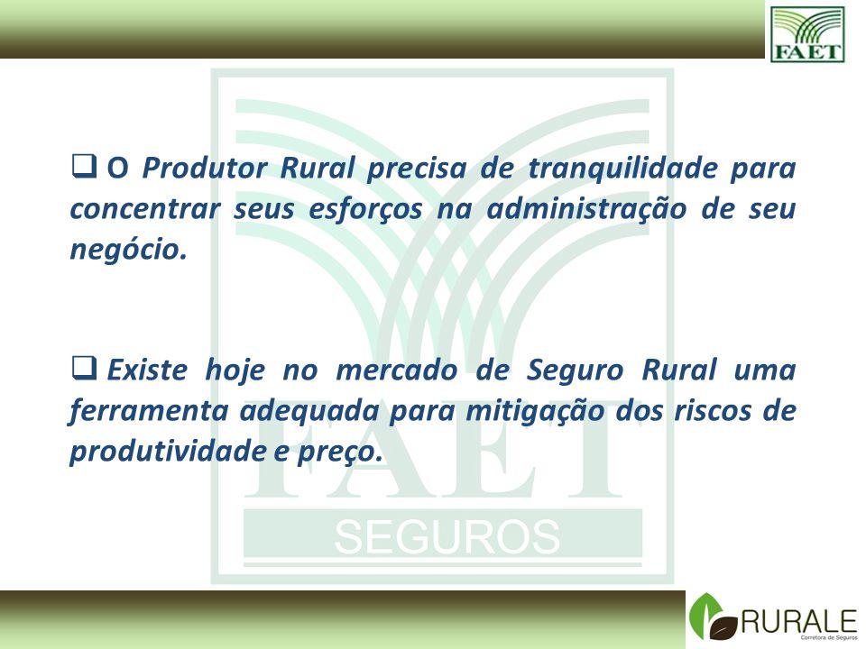 O Produtor Rural precisa de tranquilidade para concentrar seus esforços na administração de seu negócio.
