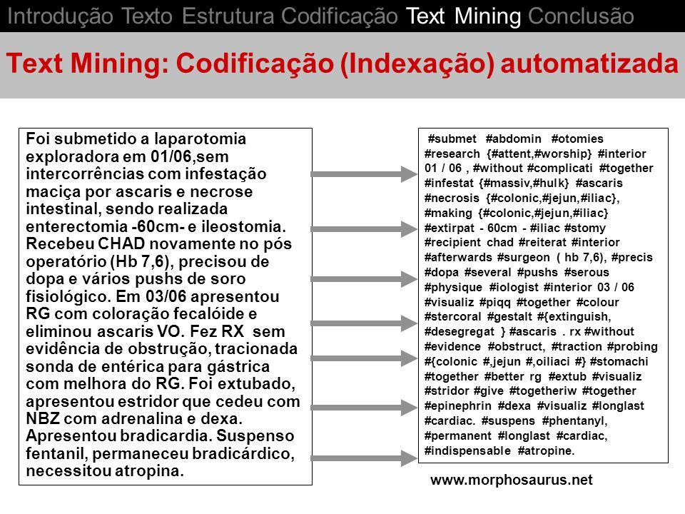 Text Mining: Codificação (Indexação) automatizada