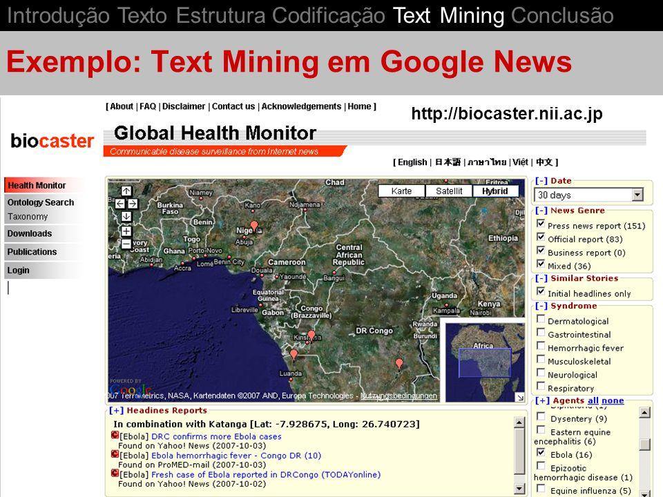 Exemplo: Text Mining em Google News
