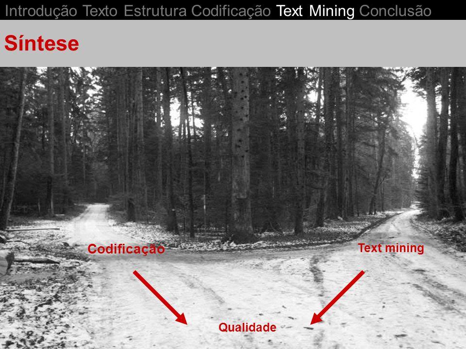 Síntese Introdução Texto Estrutura Codificação Text Mining Conclusão
