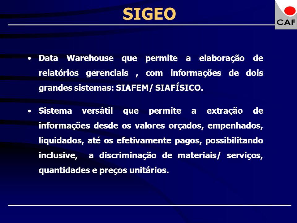 SIGEO Data Warehouse que permite a elaboração de relatórios gerenciais , com informações de dois grandes sistemas: SIAFEM/ SIAFÍSICO.