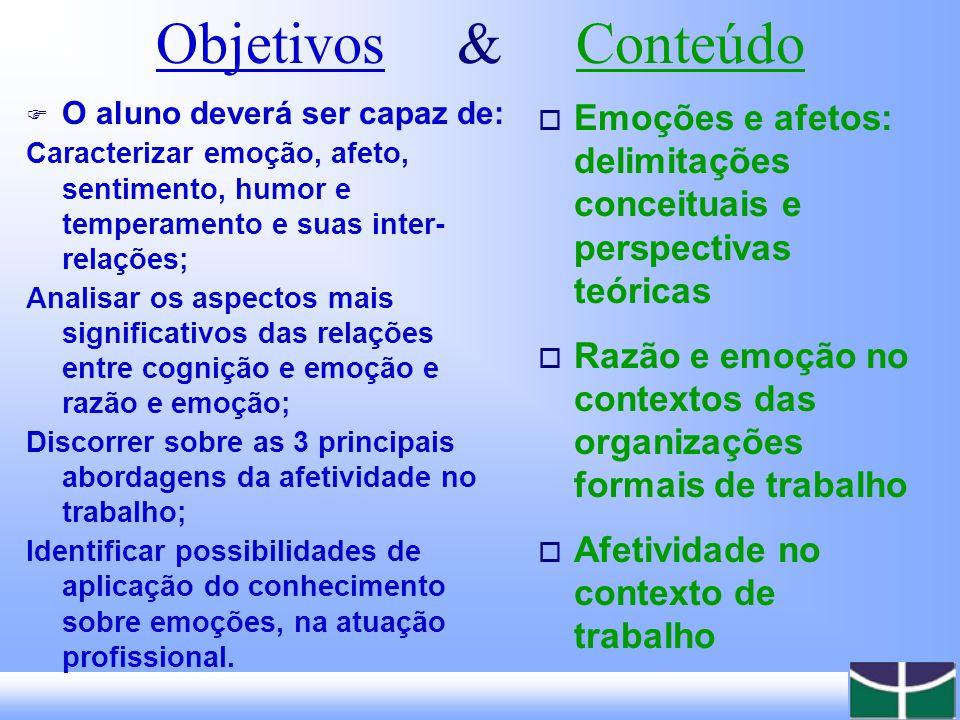 Objetivos & Conteúdo O aluno deverá ser capaz de: Caracterizar emoção, afeto, sentimento, humor e temperamento e suas inter-relações;