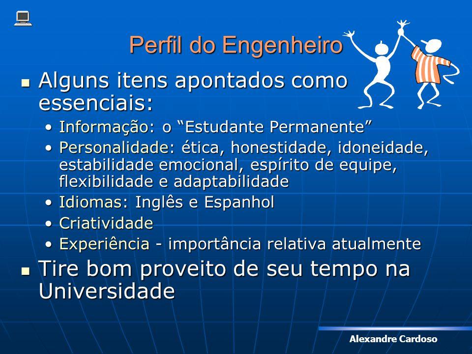 Perfil do Engenheiro Alguns itens apontados como essenciais: