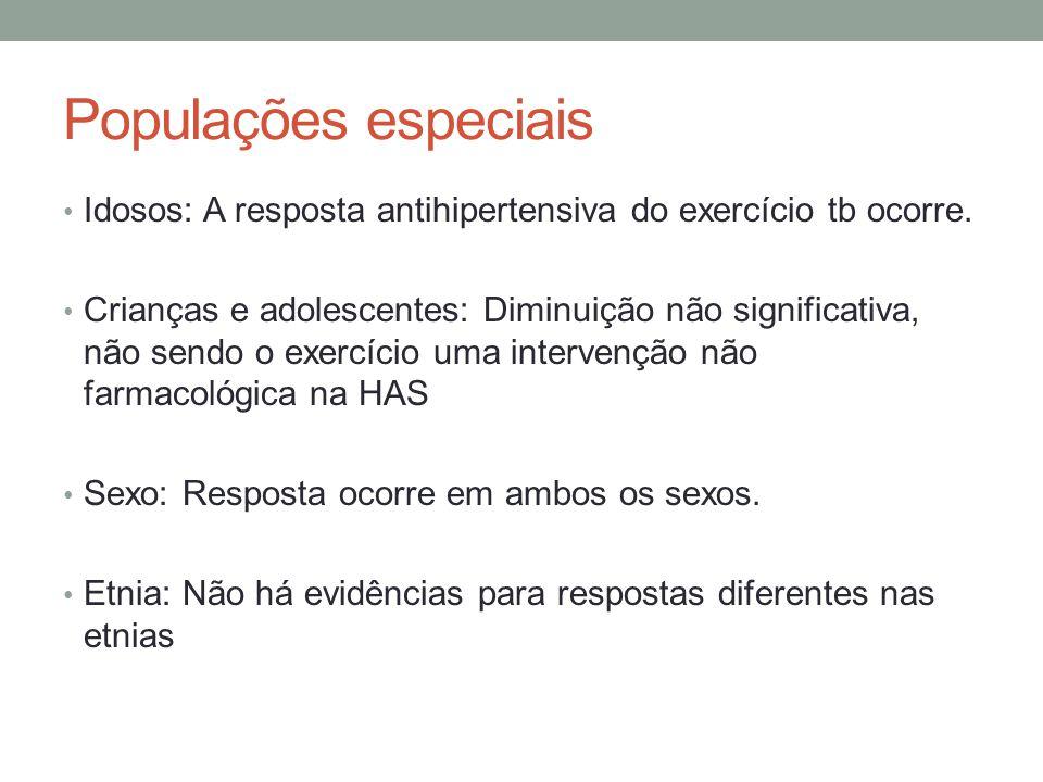 Populações especiais Idosos: A resposta antihipertensiva do exercício tb ocorre.