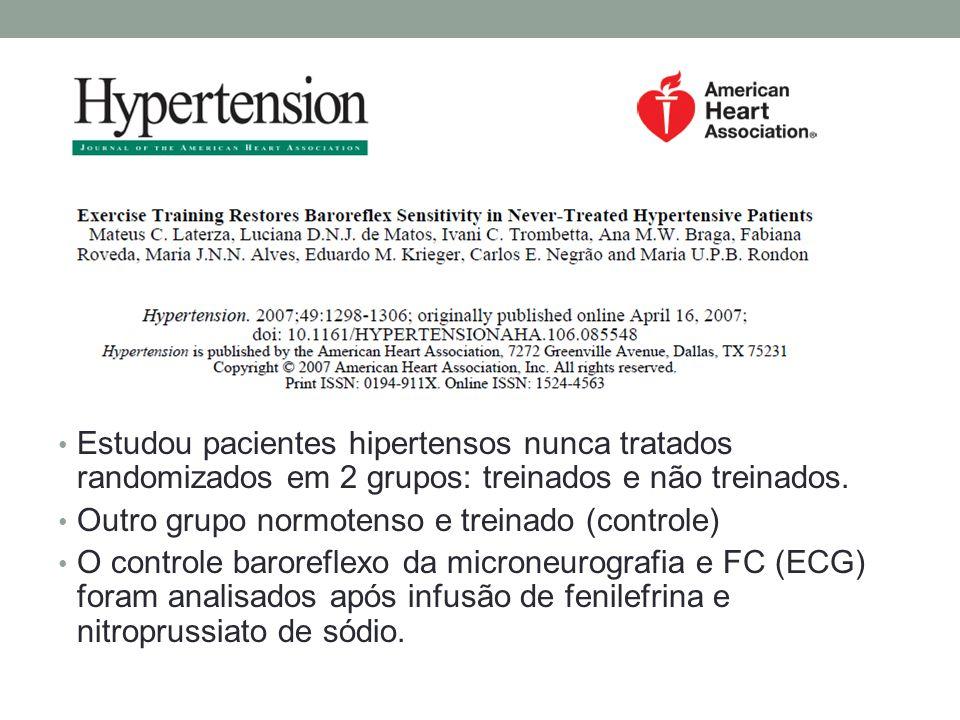 Estudou pacientes hipertensos nunca tratados randomizados em 2 grupos: treinados e não treinados.