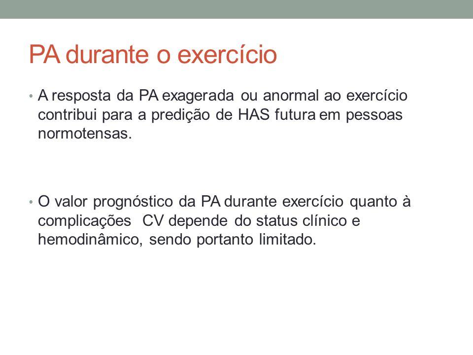 PA durante o exercício A resposta da PA exagerada ou anormal ao exercício contribui para a predição de HAS futura em pessoas normotensas.