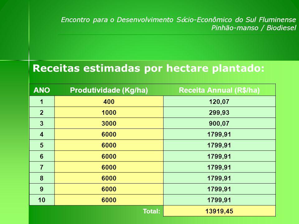 Produtividade (Kg/ha) Receita Annual (R$/ha)