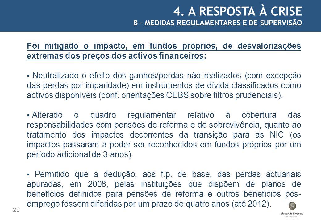 4. A RESPOSTA À CRISE B – MEDIDAS REGULAMENTARES E DE SUPERVISÃO.