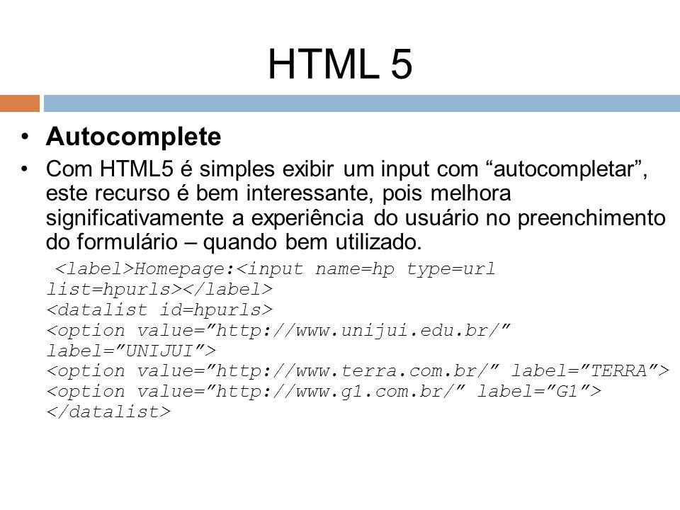 HTML 5 Autocomplete.